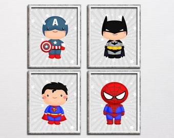 Superhero boy nursery printable wall art set, boy room superman batman captain America parody art, playroom decor instant download