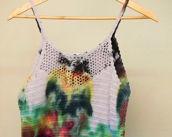Ladies Size L/14 Crochet Crop Top - V Neck Front - Beach - Festival - Ready To Ship - Tie Dyed - 100% Cotton - FREE Shipping within Aus