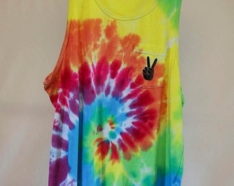 25% OFF ENTIRE SHOP Mens Medium - Tank Singlet - Ready To Ship - Unisex - Pastel Tie Dyed - 100 Percent Cotton - Free Shipping within Aus