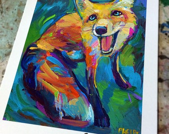 Vibrant JUNIPER FOX Art Print by Robert Phelps--colorful fox, fox art, fox poster, psychedelic art, woodland creatures