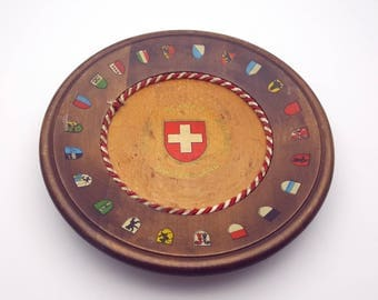 Switzerland Swiss Vintage Decorative Wood Plate with Cities Coat of Arms Geneva Bern Wall Hanging Trip Summer Vacation Souvenir Holiday Gift