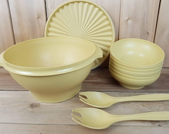 Vintage Tupperware Mustard Yellow Large Serving Bowl with 6 salad Bowls and Tongs Made in Canada Mod Retro Kitchen Home Decor Farmhouse