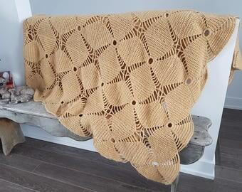 "Vintage Rustic Afghan Crochet Knit Throw Blanket / Queen 102"" x 118"" / Boho Bohemian Decor Bedding Bed Coverlet Sand Color Star Flower"