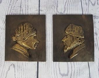 Vintage Pair of Pilgrim Wood Wall Art / Old Man & Old Woman / Pilgrim Portrait Embossed Carved Painted / Wall Hanging