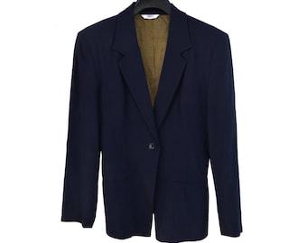 Vintage Sisley women blazer jacket navy blue Made in Italy