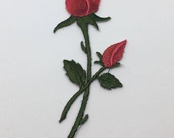 Single Red Rose - Iron on Appliqué Patch