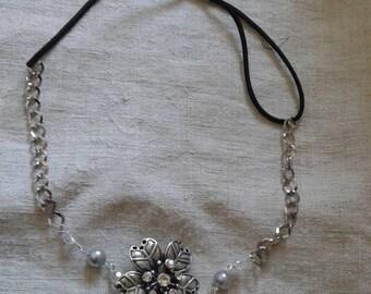 """Silver flower and rhinestone"" headband"