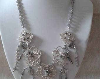 """necklace """"marriage of the beads and silver gray"""""""