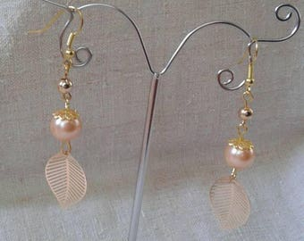 Pearl and gold leaf earrings