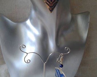 "Earrings ""ears""large blue and golden triangle"""
