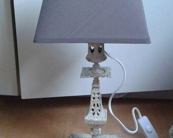 Nice patina linen candlestick lamp