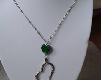 "necklace ""trio of silver and green hearts"""