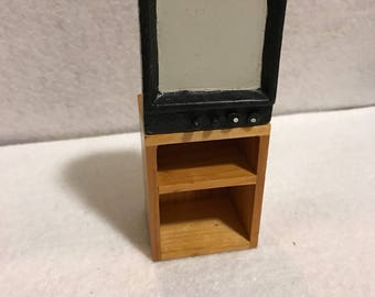Vintage TV On TV Stand, Miniature Dollhouse