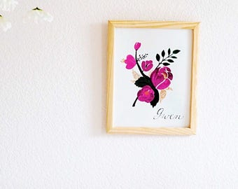 Print    personalized watercolor name print    personalized calligraphy