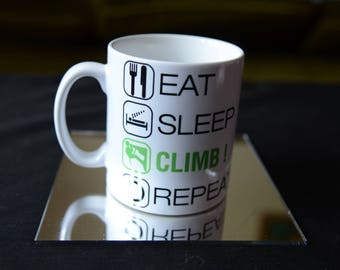 EAT SLEEP Climb Repeat Ceramic Sublimation Mug. Rock Climber Birthday Gift Personalise and Add a Name or Message and Text Style