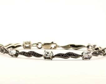 Vintage Floral Design Marcasite Link Bracelet 925 Sterling BR 2619