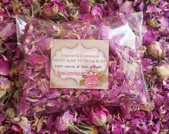 All Natural ROSE petals & buds Bulgarian Rosa Damascene Aromatic air- dried flowers, 2017