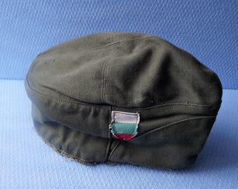 Vintage Soldier Uniform Cloth Hat, Military Canvas Hat, Retro Army Cloth Beret, 1980s Bulgarian Soldier Hat,Collectible item, Army beret