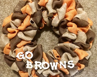 Cleveland Browns Wreath//Fall Welcome Wreath//Fall Decor