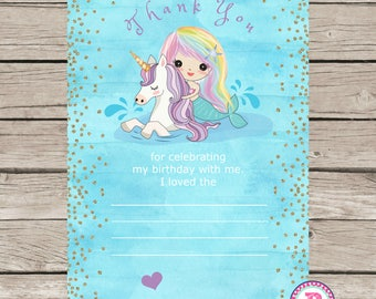 Mermaid Unicorn Birthday Party Thank You Cards Ideas Watercolor Pool Party Fill in Blank Printable Horse Splish Splash Instant Download 5x7