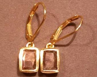 Natural golden sapphire earrings in 14k gold 925 leverbacks