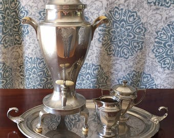 Vintage 1920s Art Deco Chrome Coffee Percolator, sugar bowl and creamer, with Stainless Steel Platter (Sold as Set)