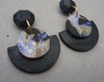 Fan Drop Earrings - Galaxy / Polymer Clay Earrings / Stud Earrings / Drop Earrings
