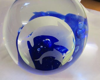 Dolphin glass paper weight