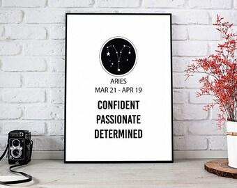 Aries,Constellation,Birthday Gift,Printable Wall Art,Instant Download,Zodiac Sign,Gift For Her,Zodiac Print,Zodiac Gift,Horoscope,Dorm Decor