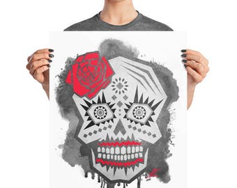 Watercolor Day of The Dead Skull Poster, 8x10, 16x20, 18x24, BoHo Decor, Coco Print, Tattoo Art