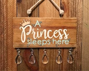 Hanging Bedroom Door Princess Sign