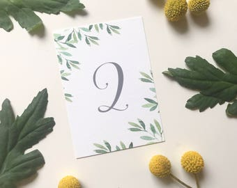Printable Table Number - Botanical Leafy Green - Modern Rustic Wedding - PDF