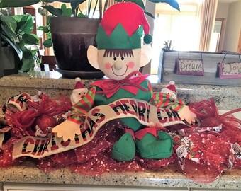 Elf Deco Mesh Christmas Centerpiece