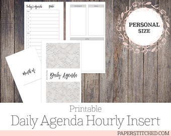 PRINTABLE Daily Agenda Hourly Insert, Personal Size, Planner Inserts, Ringbound