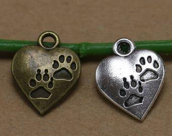 10pcs  Antique Animal Paw Theme Charms Pendants, Heart Charm,Foot Print Charm,Bear Paw Pendant DIY Handmade Craft
