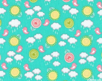 Kids Patchwork fabric turquoise Let The Sunshine by EXCLUSIVELY QUILTERS