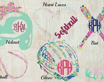 Lilly Pulitzer Inspired Softball Monogram Decal, Truck Decal, Car Decal, Yeti Cup Decal, Bottle Decal, Window Decal, Laptop Decal, Sports