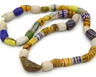 Venetian Glass Large Necklace, African Trade Necklace, Antique 1800s, Primitive African Necklace, Colorful Beaded Necklace, Handmade Glass