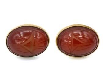 14K GF Gemstones Scarab Earrings, Carved Carneilan Earrings, Symmetalic ? Jewelry, Gold Over Sterling, Screw Back Earrings, Egyptian Revival