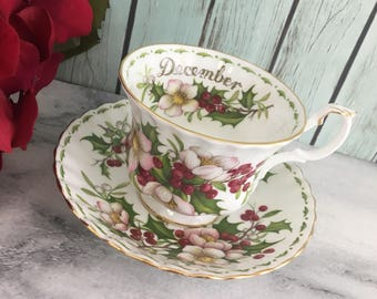 December Christmas Rose Flowers of the Month Tea Cup and Saucer Set Made in England by Royal Albert Vintage Fine Bone China Porcelain Lovely