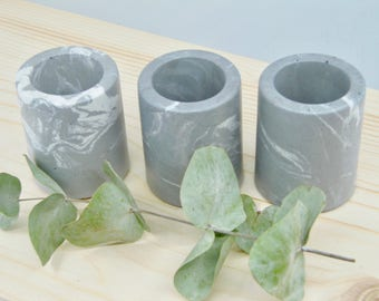 Grey and white marbled concrete mini pots TRIO, set of 3 mini concrete vessels, succulent planters, marbled concrete cactus pots