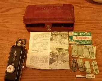 Vintage Singer Sewing Machine Attachments, Co b tainer and Instruction Booklet