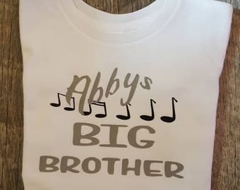 Music, Musical, Big Brother Onesie or Tee (Choice Of Colors)