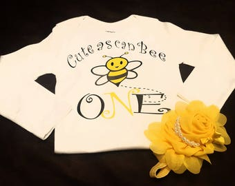 """First Birthday, Bee, Bee Birthday, Can Accommodate Any Birthday Age - Can Customize For Boy As Well """"Handsome As Can Bee"""""""