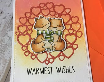 Warmest wishes ,greeting card , hand made, love card, foxes , winter, alcoholic markers , die cuts , stamps