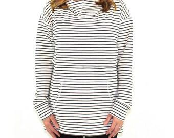 NURSING QUEEN Drop Shoulder Nursing Hoodie- Stripe