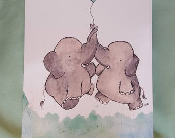 Elephants in Love/Blank Card/Happy Anniversary/Elephant Lover/Couples Card/Any Occasion Card/Elephant Card/Watercolor