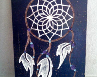Handmade Wooden Sign: Engraved Dream Catcher