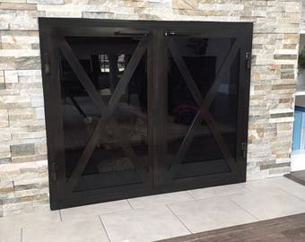 wood fireplace screens. Hand made iron fireplace doors custom to your Fireplace screen  Etsy