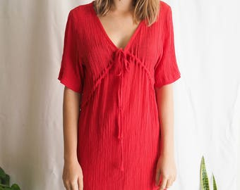 vintage bright red mini summer dress